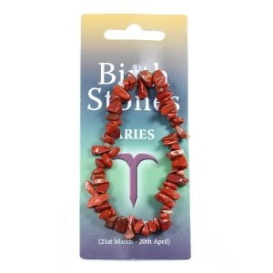 ARIES Birthstone Chip Bracelet (Red Jasper)