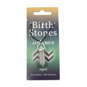 AQUARIUS Birthstone Pendant on Thong (Agate)