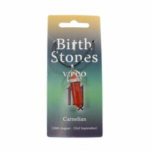 VIRGO Birthstone Pendant on Thong (Carnelian)