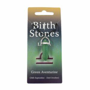 LIBRA Birthstone Pendant on Thong (Green Aventurine)